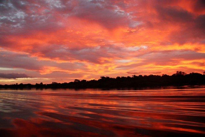 Pandemia no mundo: o Arquipélago de Anavilhanas é um paraíso repleto de praias no período da seca e dispõe de um degradê de cores no pôr-do-sol.